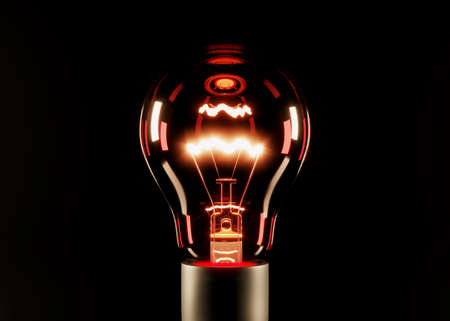 Glowing red incandescent lamp on a black background. 3D rendering and 3D illustration. Archivio Fotografico