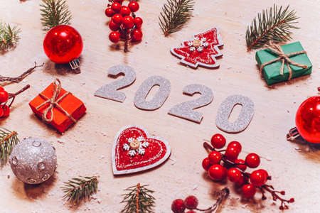 New year tamplate with white wood background