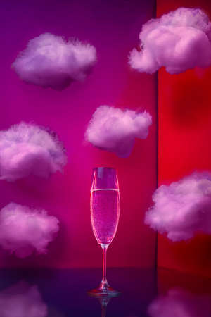 Champagne glass with clouds in neon light