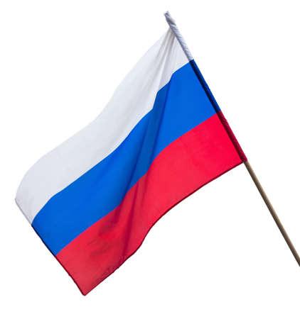 ロシア連邦の旗は、孤立した白地に掛かっています。 写真素材