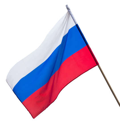 Flag of the Russian Federation hanging on a white isolated background. 免版税图像