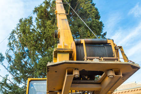 hawser of crane winch on reel closeup Standard-Bild