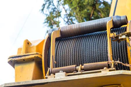 hawser of crane winch on reel closeup Stock Photo