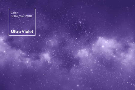 space star background and nebula in colors of the year 2018 Ultra Violet pantone. Foto de archivo