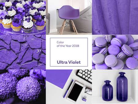 collage avec la couleur ultra violet de l'année 2018 Pantone. Banque d'images