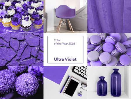 collage with ultra Violet color of the year 2018 Pantone. Archivio Fotografico