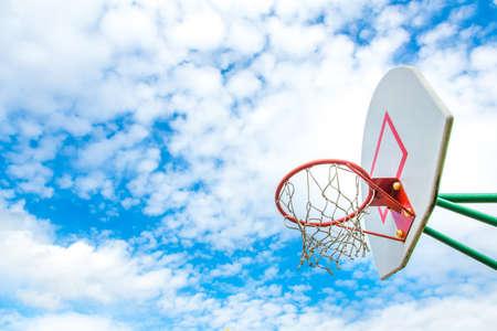 basketball ring on blue sky background.