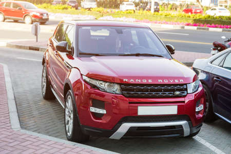 Dubai, UAE February 19, 2018: Red Range Rover in the parking lot