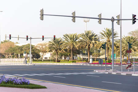 Traffic lights at the crossroads of the highway