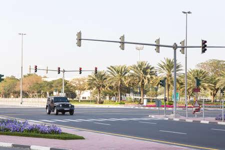 Dubai, UAE February 19, 2018: Black Jeep rides on the road Redakční
