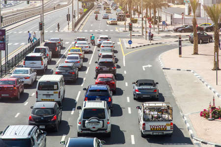 Dubai, UAE February 14, 2018: cars in a traffic jam on a city street