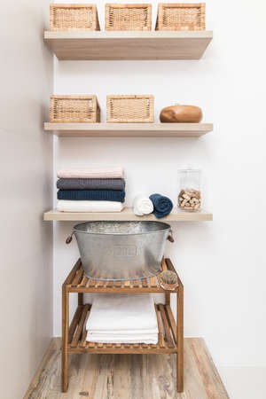 Design elements in the interior of a modern bathroom. Shelves for bath accessories. solutions for sauna in the bathroom Stock Photo