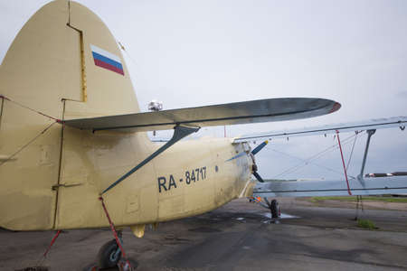 Ufa, Russia. May 19, 2018: Old Soviet An-2 plane parked at the airport
