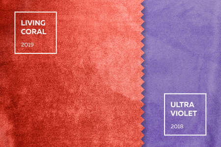 Stoff mit Nickerchen in den Farben des Jahres 2018, Ultra Violet, Living Coral 2019 Standard-Bild