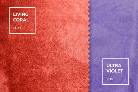 tela con siesta en colores del año 2018, ultravioleta, coral vivo 2019 Foto de archivo