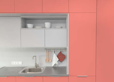 Kitchen interior in light colors. Scandinavian style. Color of the year 2019 living coral. livingcoral