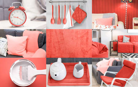 Interior collage in coral color trend of the year 2019