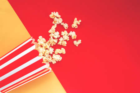 Cinema party concept. pop corn in a red