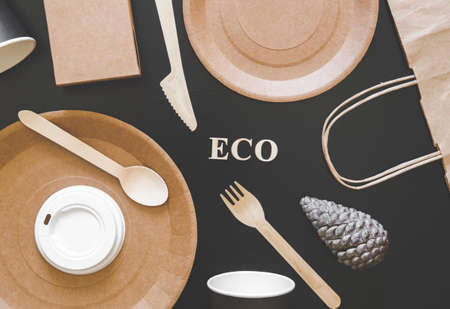 Eco friendly disposable dishes made paper on black