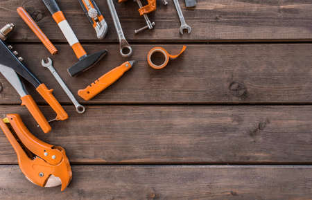 Set of carpentry  tools on wood