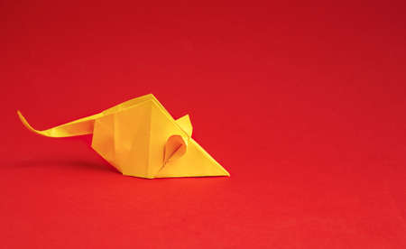 Chinese New Year 2020. Year of Rat. Chinese zodiac symbol of 2020. Origami paper animal. free space for text.