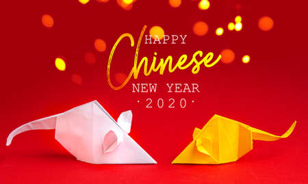 Chinese New Year 2020. Year of Rat. Chinese zodiac symbol of 2020. Origami paper animal.