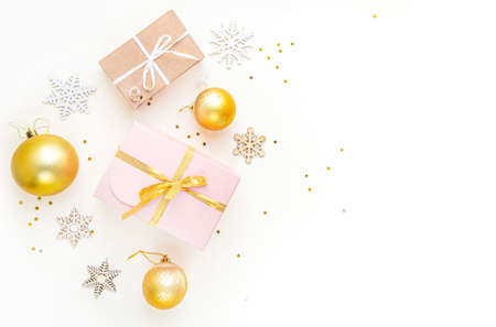 Flat lay composition. Christmas accessories and decorations on white background. top view, copy space