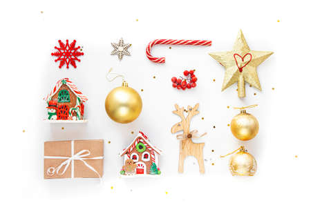Flat lay composition. Christmas accessories and decorations on white background. top view, copy space.