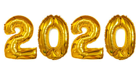 Gold Foil Balloons 2020 isolated. Happy New Years concept. 写真素材