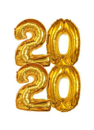 Gold Foil Balloons 2020 on white background. Happy New Years concept. Vertical banner