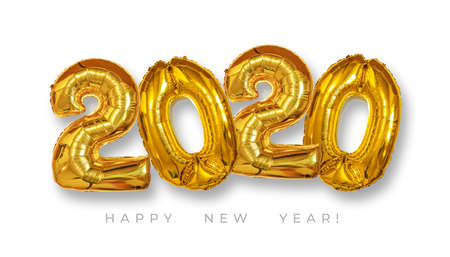 Gold Foil Balloons 2020 on white background. Happy New Years concept. 写真素材