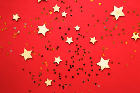 Christmas stars on red  Flat lay composition.