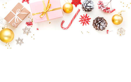 Christmas accessories and decorations on white 写真素材