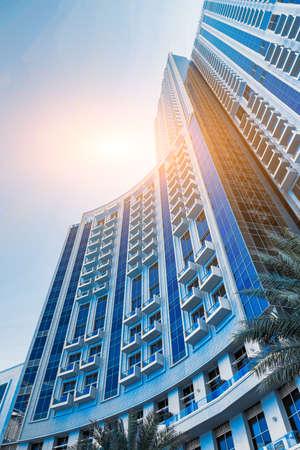 Modern skyscrapers of the fast-growing city of Dubai, color 2020 classic blue Banco de Imagens