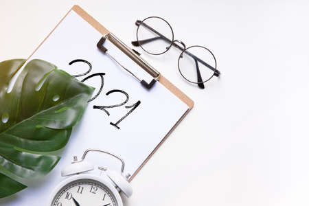 2021 new year goal, plan, action. office accessories. Business motivation, inspiration concepts ideas.