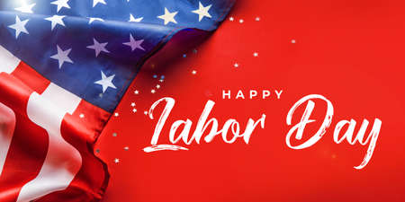 Happy Labor day banner, american patriotic background with USA flag