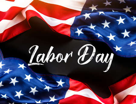 Happy Labor day banner, american patriotic  with USA flag