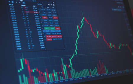Stock Market Chart on Blue Background. share drop down and stock up
