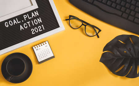 2021 new year goal, plan, action. office accessories. Business motivation, inspiration concepts ideas