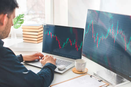 Investor analyzing stock market investments with financial dashboard, business intelligence, and key performance indicators on computer screens