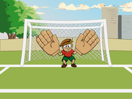 Goalkeeper in big gloves on gate Illustration
