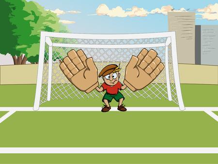 goalkeeper: Goalkeeper in big gloves on gate Illustration