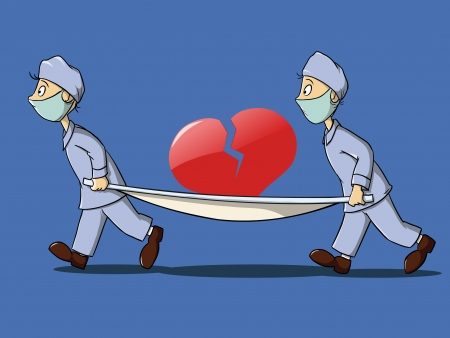 medics in uniform with stretcher and broken heart Illustration