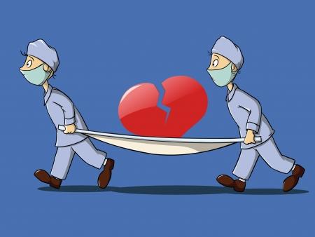 paciente en camilla: paramédicos en uniforme con Camilla y corazón roto