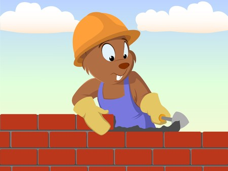 concrete block: Beaver bricklayer build the brick wall Illustration