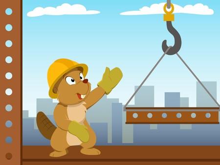mounter: Beaver mounter build metal construction Illustration