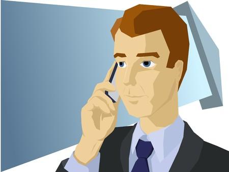 man on cell phone: El tel�fono m�vil de estilo de hablar de hombre de negocios Vectores
