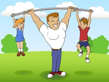 parent and teenager: father of a family playing sports with children