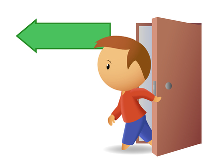 leaving: Men exit from the door Illustration