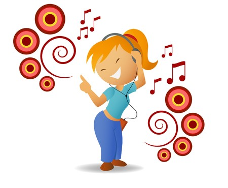 blonde teenage girl: Dancing girl listen music in headphone Illustration